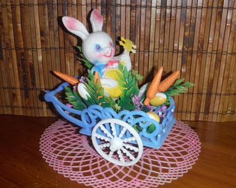Vintage Kitschy Easter Bunny Wagon - Plastic Easter Bunny Decor - 1960's Vintage Bunny Rabbit Easter Eggs Carrots Flowers Floral Wagon Decor