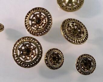 Antiqued Gold button, Vintage button, Round Gold button, Filigree Shank, Star Flower Button, Edelweiss, Shank Button, Pinwheel Design