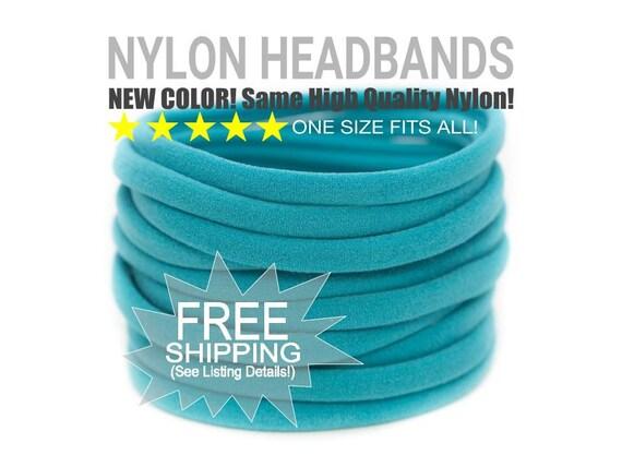 TEAL Nylon Headbands Wholesale / Wholesale Spandex Headband / Skinny Very Stretchy One Size Fits most Nylon