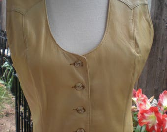 Womens vintage leather vest size Medium by Scully Leatherwear for Tener's Western Outfitters Oklahoma City Oklahoma