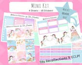 Believe in Unicorns mini kit * Matte/Glossy * Rainbow *  vertical Erin Condren Life Planner ECLP & Recollections