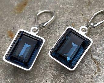 Sparktacle Swarovski Navy blue, dark blue cut Octogan drop earrings. Deep blue, oblong earrings