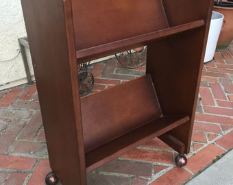Vintage Wood Rolling Library Book Cart Shelf /Bookcase