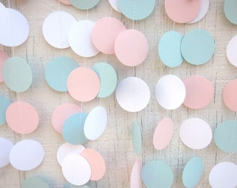 Pink and Blue Paper Circles Garland, Gender Reveal,  Birthday Garland, Wedding Garland, Baby Shower Garland, Photo Prop,Backdrop
