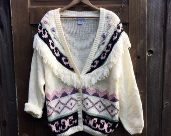 Amazing Vintage 80's Oversized Grandma Mixed Pattern Fringed Cardigan size 2x large