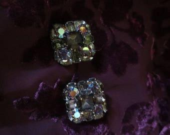 Vintage marked lavender rhinestone earrings.