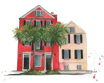 A Charleston Life - South Carolina Travel Illustration Watercolor Painting Print - Home decor and wall art