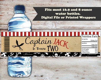 Pirate Water Bottle Label, Pirate Water Bottle Wrapper, Water Bottle Labels, Pirate Party Favors, Pirate Birthday Labels, Digital or Printed