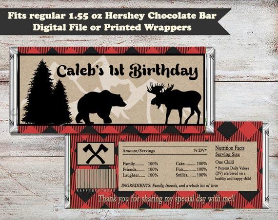 Lumberjack Candy Bar Wrappers, Lumberjack Party Favors, Lumberjack ...