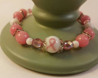 Breast Cancer Bracelet in Silver Tone with Czech Glass and White Shell Beads with Swarovski Crystals, Adjustable Size 8 to 9 Inches
