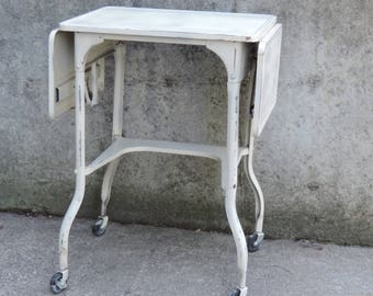 Vintage Typewriter Table 40u0027s Beige Industrial Typewriter Desk Folding Leaf  At Each End Rolling Casters Featuring