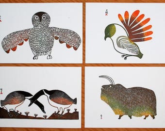 Set of Four 1970's Inuit Art Postcards by Unicef