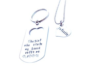 The Girl Who stole my Heart... Daddy/Daughter Hand stamped Keychain, Necklace Set -Father's Day Gift -