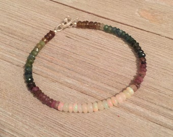 Ethiopian opal & multi-color tourmaline bracelet~Sterling silver toggle~S925 leaf charm~FREE SHIPPING~