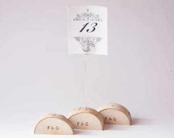 15 rustic wedding table number holder with wire, place card holder, birch wedding table decor,  wedding centerpiece