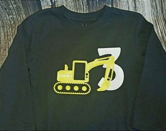 Personalized Construction birthday Boy Shirt Youth Back Hoe