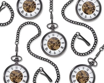 Gunmetal Gray Exposed Gears Pocket Watch Set of 5 - Personalized Pocket Watches - Groomsmen Gifts - Gifts for Him - GC1518x5