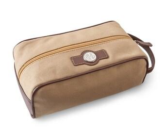 Personalized Leather & Canvas Dopp Kit - Personalized Shaving Kits - Groomsmen Gift - Men's Toiletry Bag - Travel Tote - Travel Bag
