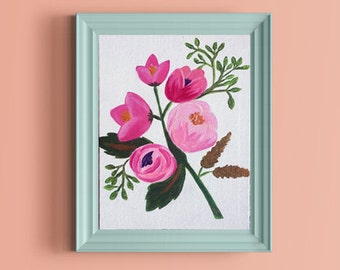 Spring Floral Acrylic Vintage Style Canvas Painting