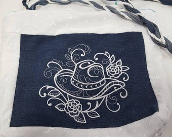 Denim & lace cowgirl tote bag