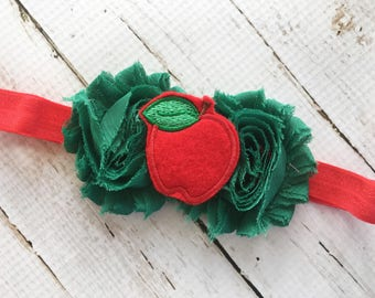 Apple Headband - Baby Headband - Green Flower Head Band for Girl - Red Apple Head Band - Newborn Headband - Red FOE Headband for Infant -