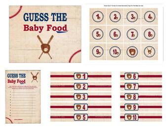 Baseball Baby Food Game, Printable Baseball Guess The Baby Food, Vintage Baseball Baby Shower Name That Baby Food - Printables 4 Less 0004