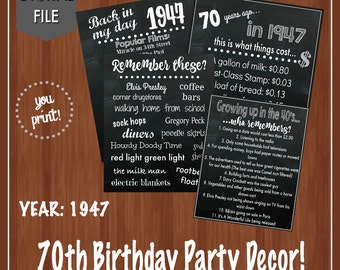 ON SALE - 70th Birthday Party Decor - Fun Facts -40's Themed Party - 70th Birthday Centerpieces -Digital - 1947 - Table Decor- 70th Birthday