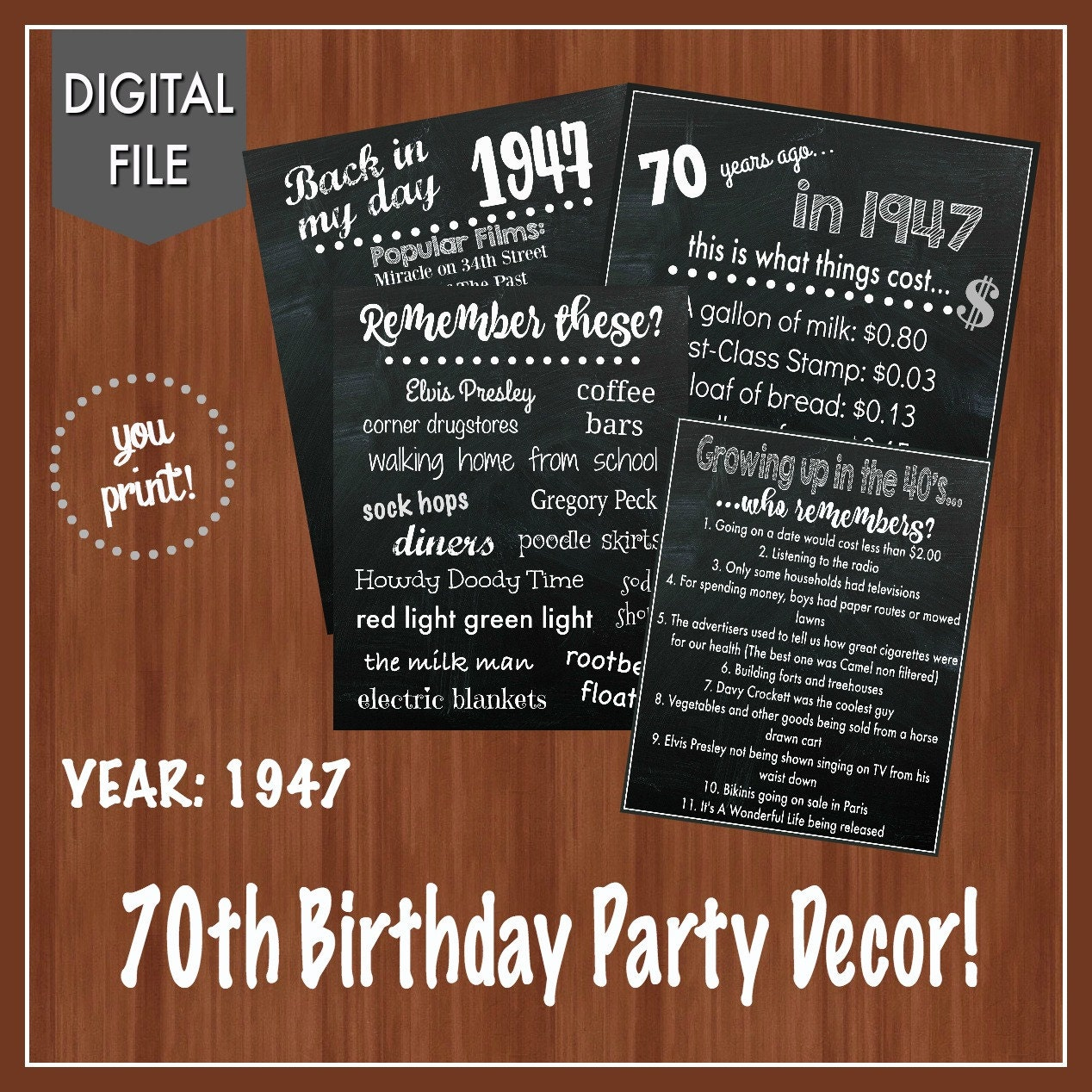 70th birthday party decor fun facts 40 39 s themed party for Decoration 70th birthday