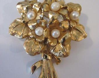 """Vintage Boucher signed flower brooch, """"VIOLETS"""", numbered, 1960's, gold tone"""