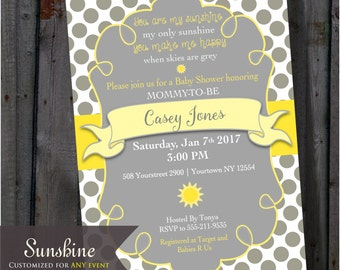 Bright Yellow And Grey Dots, You Are My Sunshine, Baby Shower Invitation  Gray