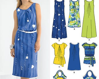 New Look 6024 Misses' dress and Tunic, hand bag and hat in 2 Styles each