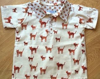 Boys tiger henley shirt, size 4