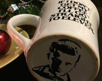 Stranger things mug, elle upside down, el on the bottom, eleven, upsidedown, morning brew mug