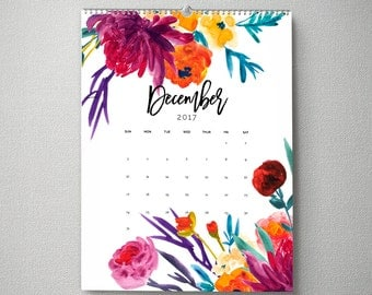 2017 Monthly Wall Calendar, 11x14, Wall Calendar, Watercolor Flower Gifts for Her  (cal0004)