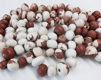 10 Handmade and Marbled Terra-cotta and Stoneware clay beads with clear glaze