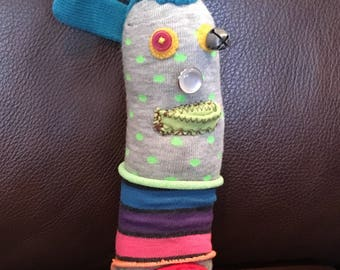 Stuffed Sock Critter; Quirky Handmade Sock Animal Made from Recycled Materials; OOAK  (Ipswitch)