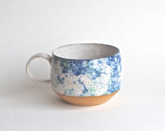 Handmade Pottery Mugs - READY TO SHIP -Ceramic Cups - Ceramic Mugs - Long Island Waters Collection - Coffee Mugs - Latte Mugs - Bubble Glaze