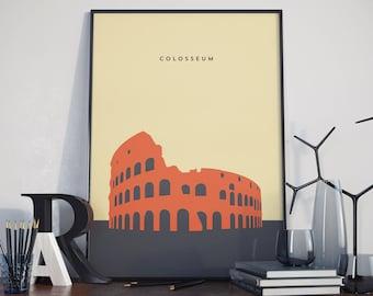 Colosseum, Rome, Wonder of the world, Print. Poster.