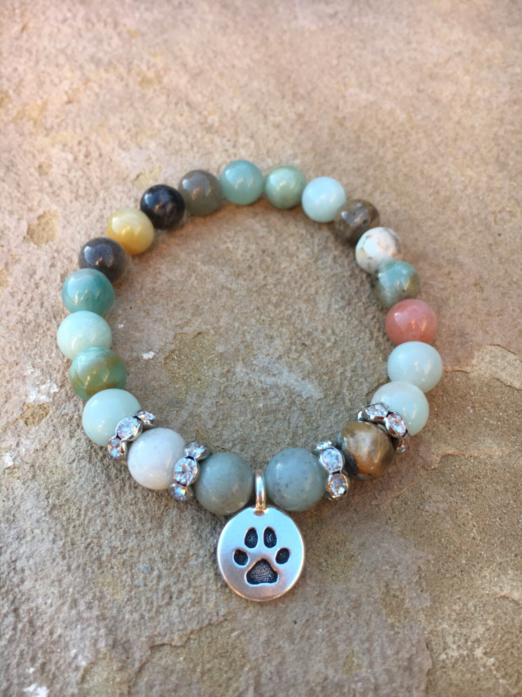 Silver Paw Cavachons: Green Blue Amazonite Bracelet With Silver Paw Print Charm