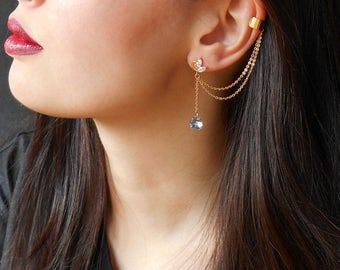 Dangle drop cuff Earrings, Gold chain ear cuff earrings, Long crystal earrings