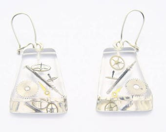 Trapezoid earrings with vintage watch cogs