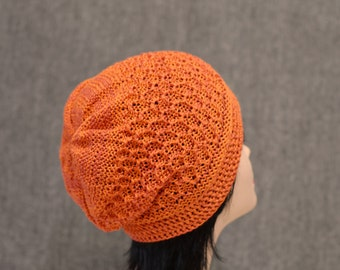 cotton rust orange knit slouchy beanie hat