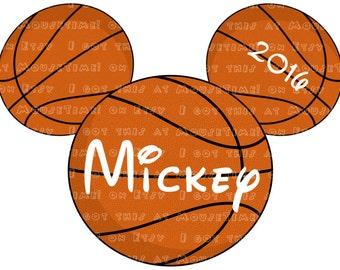 IRON-ON Basketball Mickey Ears! - Mouse Ears Tshirt Transfer / Decal