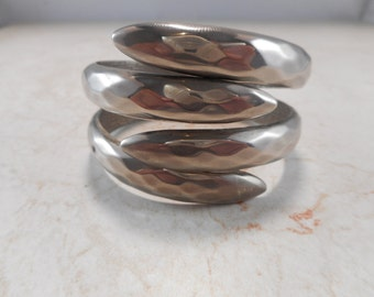 Clamper Bracelet Hammered Claw Style Silver-Tone
