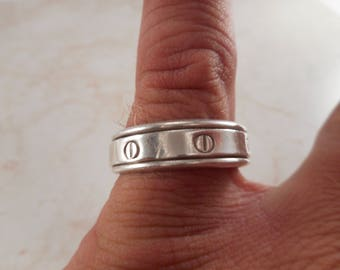 Vintage Sterling Silver Spinner Wedding Band Size 13 ,Nail Head Design Ring