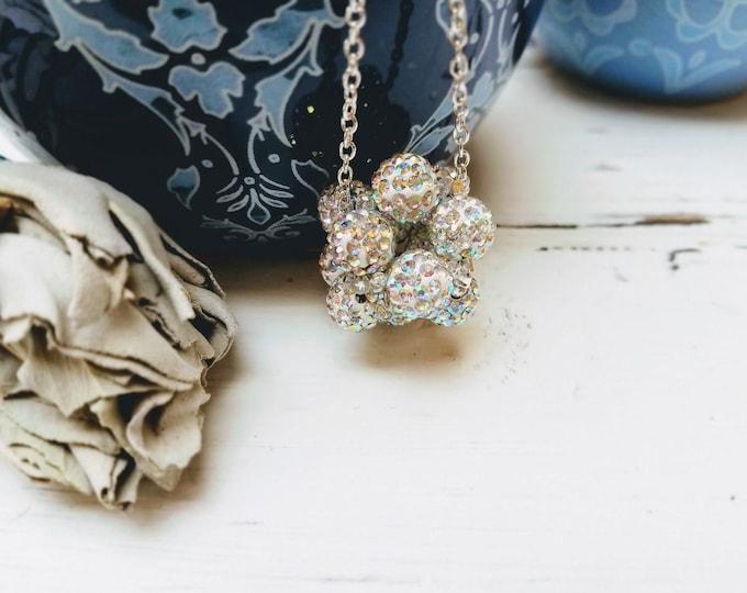 beaded choker Sparkle Shamballa crystal and silver boho glam necklace