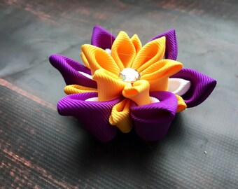 Pink Kanzashi flower hair clip. Waterlily hair clip. Kanzashi hair flower. Japanese Fabric Flower Clip. Colorful flower hair clip, rainbow