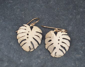 Small Hammered Brass Monstera Leaf Earrings