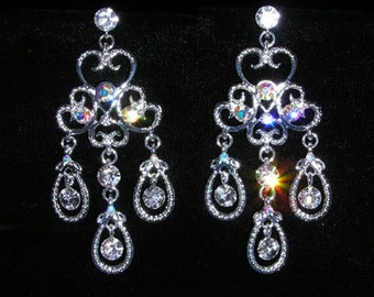 Style # 15399 - Eduardian Crystal and AB Chandalier Earrings