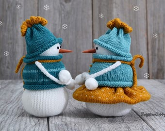 Christmas ornament, Knitted snowmen, Gift, Couple,  Holiday season, Xmas, Home decor, Snow man, Fiber art, Winter, Yarn, Wool, NeighborKitty